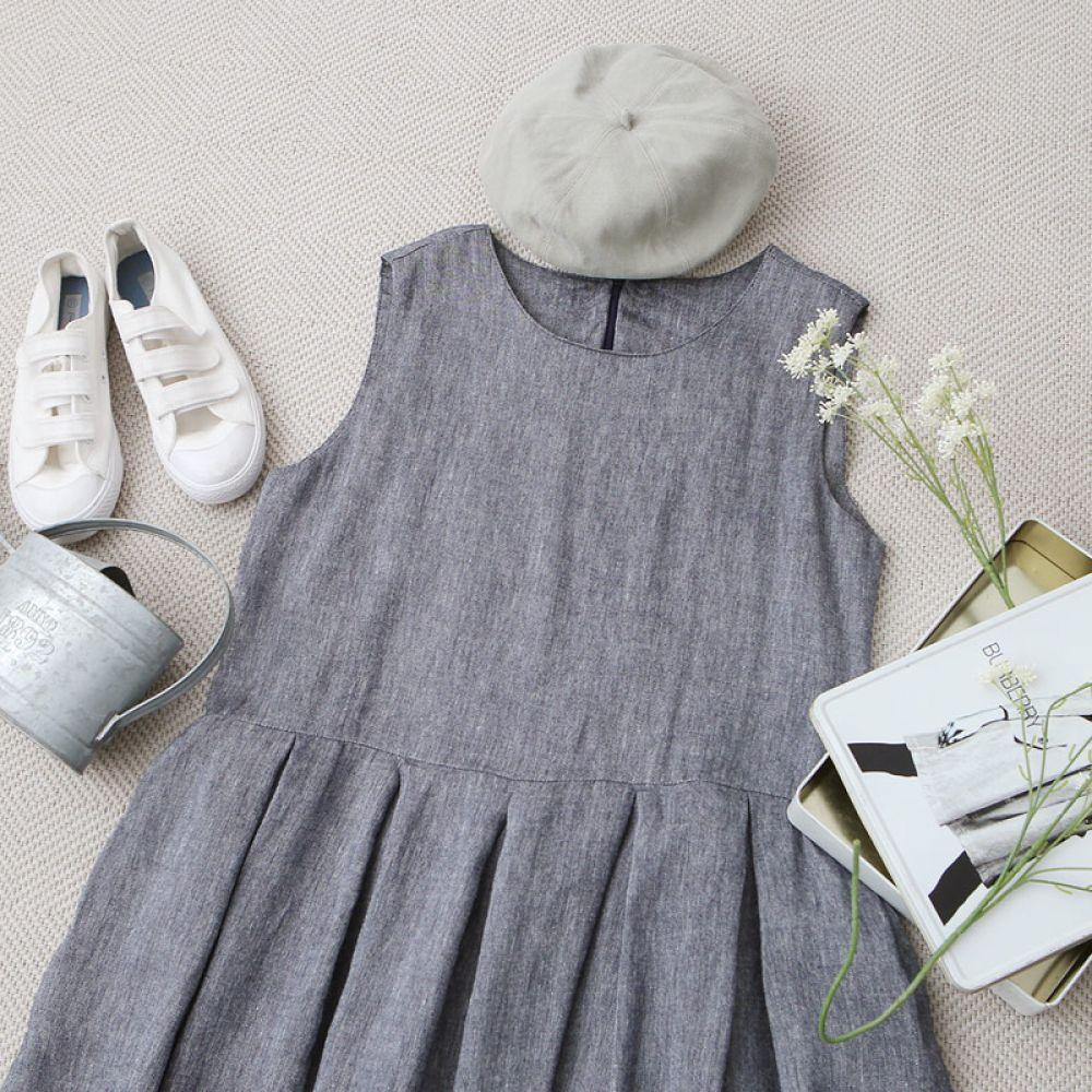 주름 민소매 원피스 1048235 DRESS 면원피스 민트 Mint 네이비 Navy 캐주얼