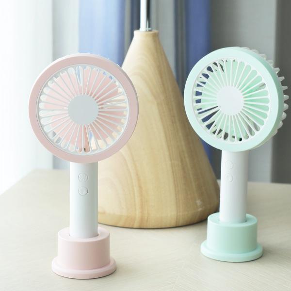 LED 원형 핸디형 저소음 선풍기(핑크)