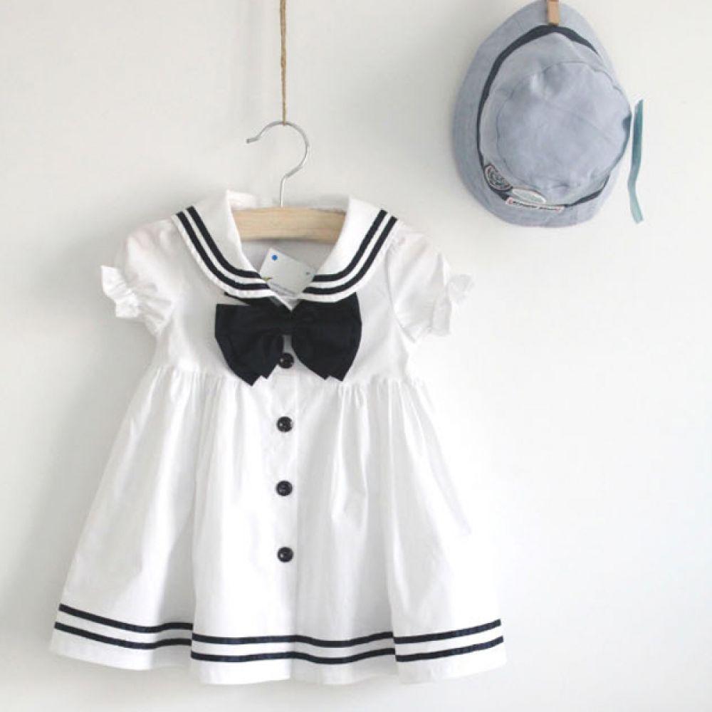 리본 단추 원피스 (3세-8세) 201952 원피스 아기옷 유아옷 신생아옷 돌복 드레스