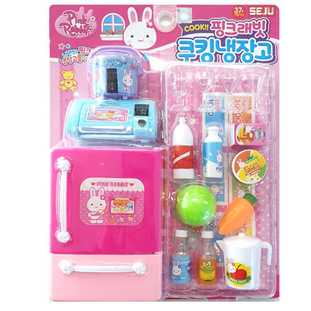 핑크래빗 쿠킹냉장고 역할놀이 꾸미기 소꿉놀이 미니어쳐 장난감