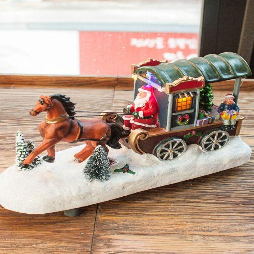 산타 마차 LED 오르골 인테리어소품 오르골 미니어처소품 장식소품 크리스마스소품
