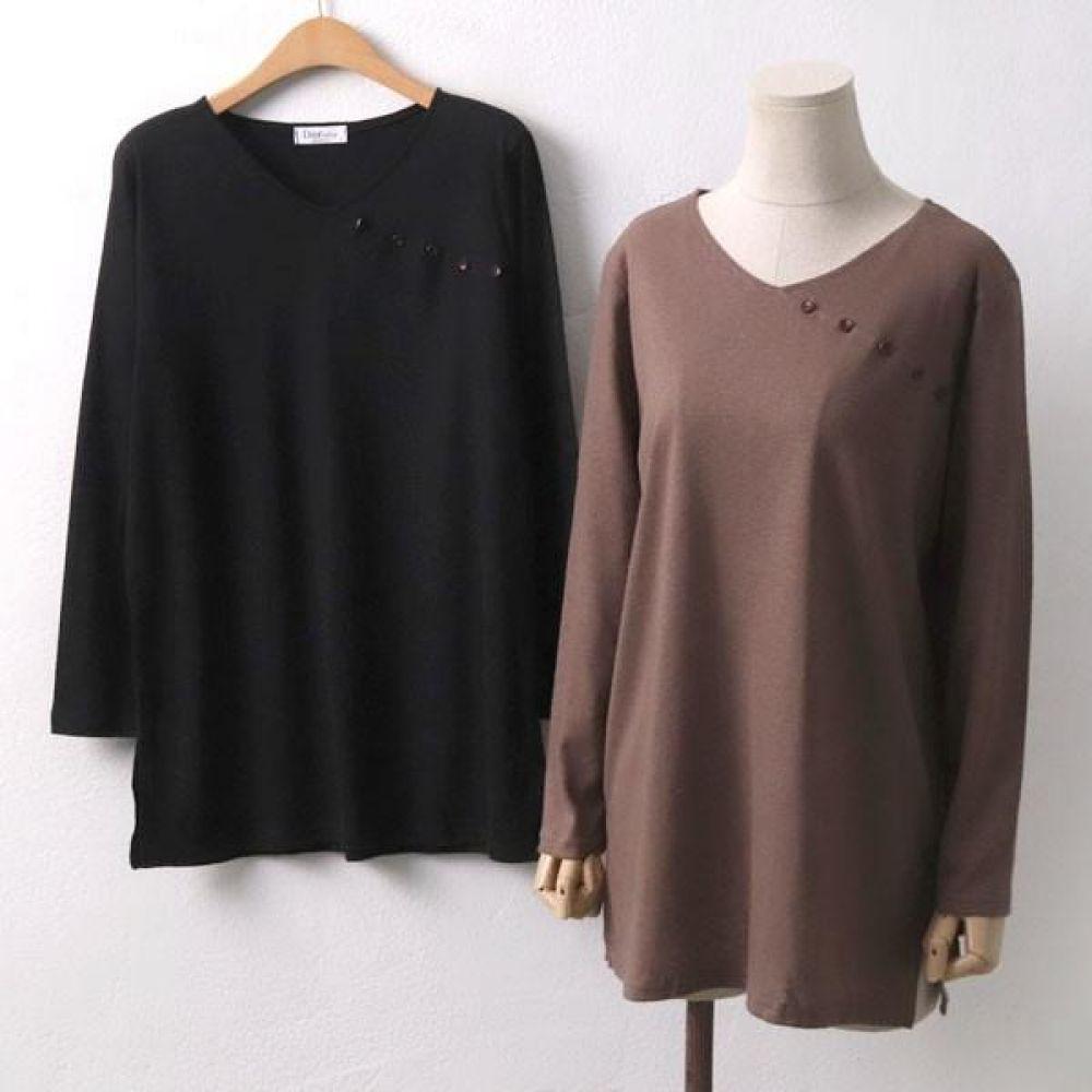 빅사이즈 910 사선 단추 브이긴팔 DOL6785 빅사이즈 여성의류 미시옷 임부복 910사선단추브이긴팔DOL6785