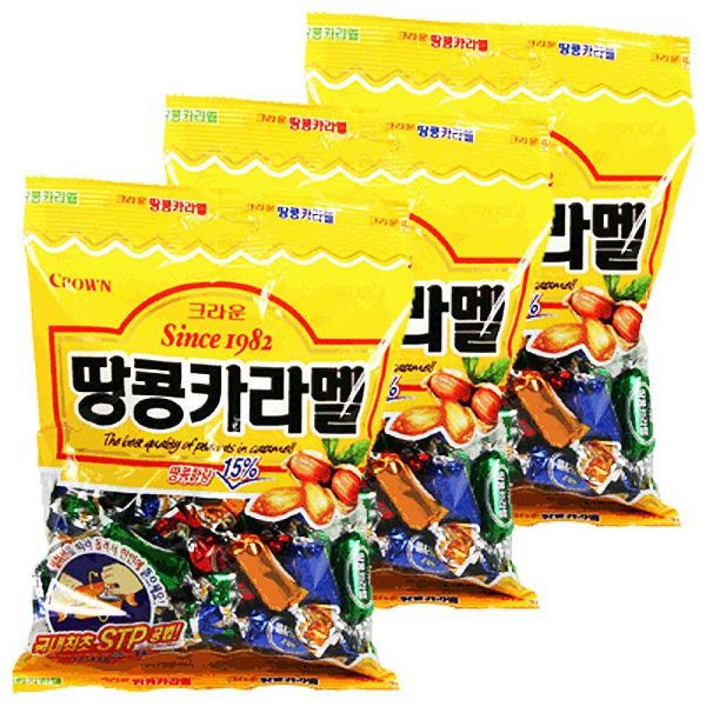 크라운)땅콩카라멜 325g x 3개 고소한 땅콩과 달콤한 카라멜 과자 스낵 간식 카라멜 견과