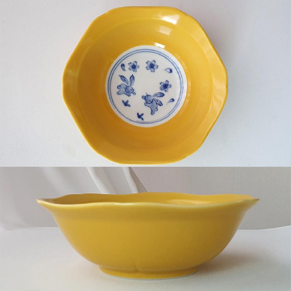 그린코리아 재팬 노랑 안파랑 토끼 낮은 볼 원형접시 다용도그릇 식기 주방접시 공기 원형접시 다용도그릇 식기 주방접시 공기