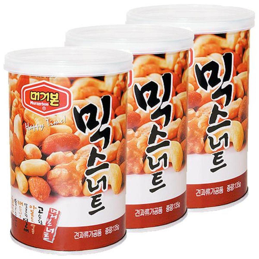 머거본)믹스너트(캔) 135g x 12개 아몬드 땅콩 캐슈 간식 군것질 견과 혼합 땅콩