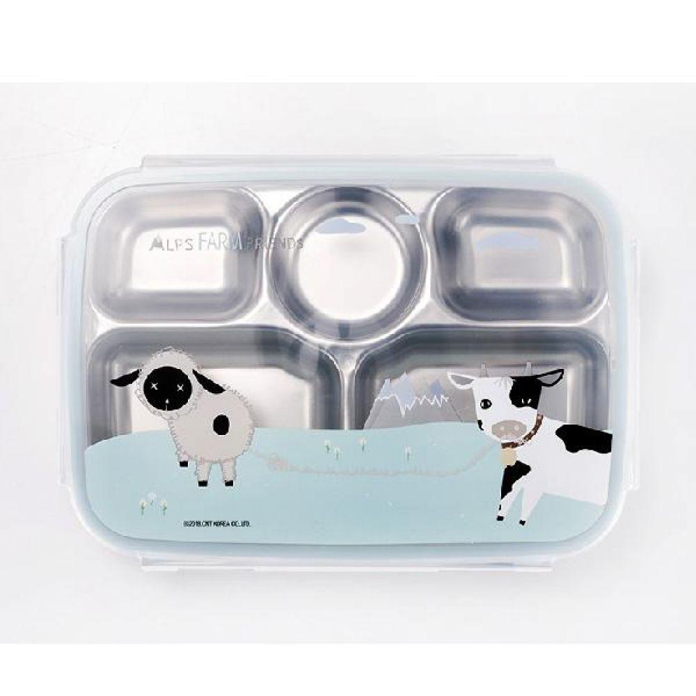 알프스팜스토리 배식판 유아용배식판 어린이배식판 스텐배식판 스텐락배식판 뚜껑배식판