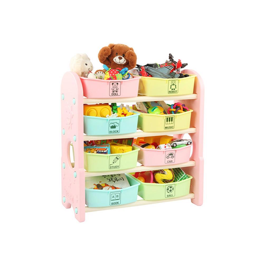 습관 쿠쿠토이즈 펀4단 정리함 수납함 핑크 정리 수납함 정리습관 어린이집 유아원 장난감