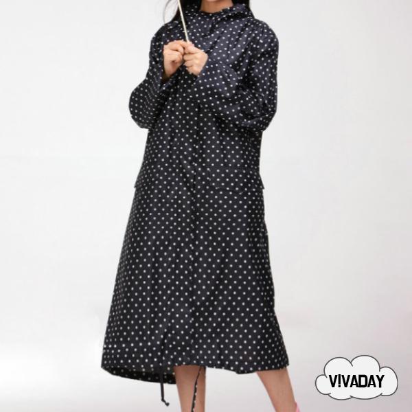 W16 빅사이즈 블랙도트코트우의 우비 레인코트 우의 비 비옷 여름철 장마 장마비옷 여성우의 남성우의