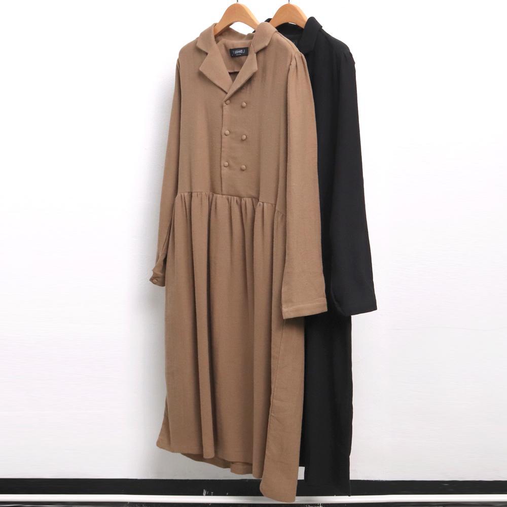 미시옷 6648L909 투 버튼 셔링 원피스 LY 빅사이즈 여성의류 빅사이즈 여성의류 미시옷 임부복 클래식더블롱원피스