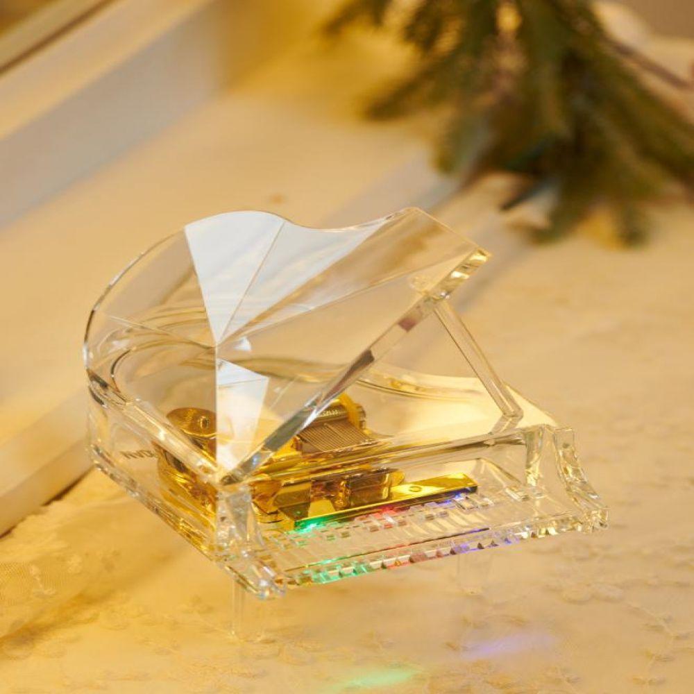 LED 투명 그랜드 피아노 오르골 멜로디소품 투명오르골 LED소품 피아노장식품 태엽오르골 장식소품