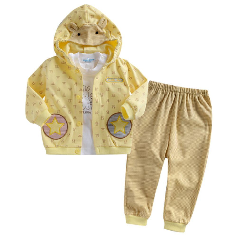 한국생산 곰돌이 패턴 상하3종세트(3-24개월) 202282 돌복 백일옷 상하복 아기옷 외출복