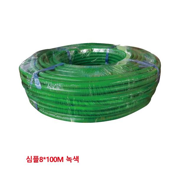 야성 8040068 산소호스 심플 8mm x 100m 녹색 야성 8040068 산소 호스 용접용 싱글