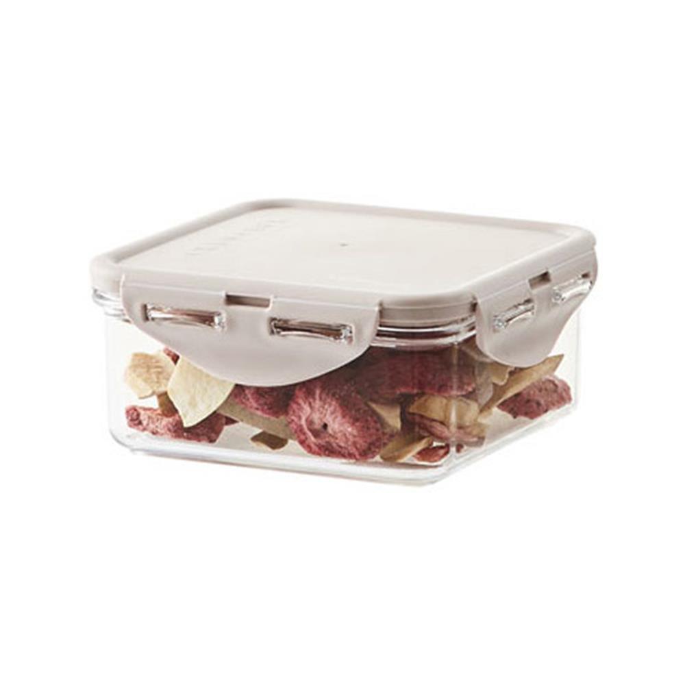 600ml 스테커블 정사각밀폐용기 핑크 주방용품 반찬통 사각용기 보관용품 밀폐 생활용품 양념통