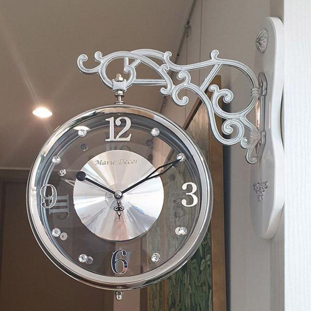 크리스탈 무소음 양면시계 (실버) 양면시계 양면벽시계 벽시계 벽걸이시계 인테리어벽시계