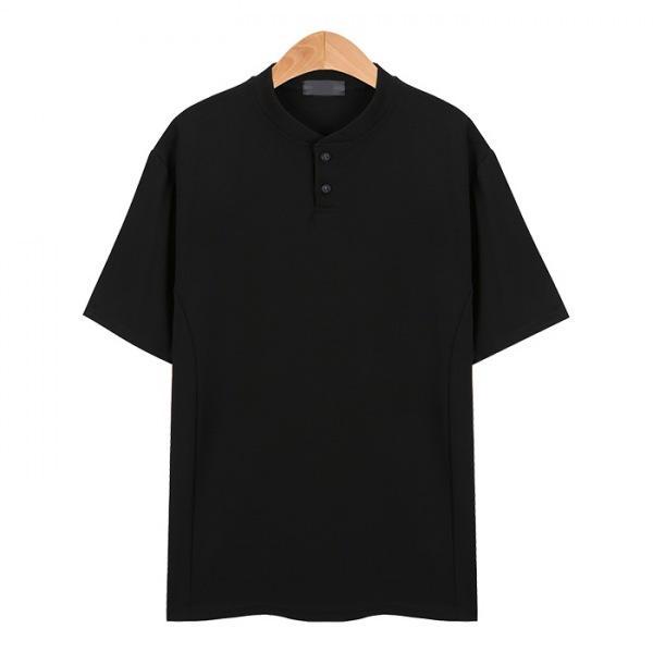 라인 헨리넥 포인트 스판 블랙 티셔츠_CMT006