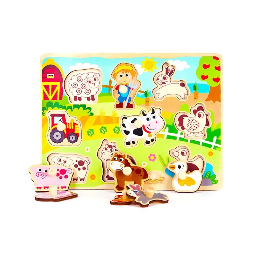 장난감 유아 학습 아동 놀이 농장 꼭지 퍼즐 아이 퍼즐 블록 블럭 장난감 유아블럭
