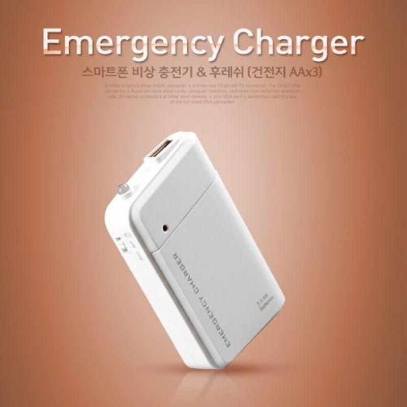 Coms 스마트폰 비상 충전기 500mA 후레쉬건전지 AAx3 보조 배터리