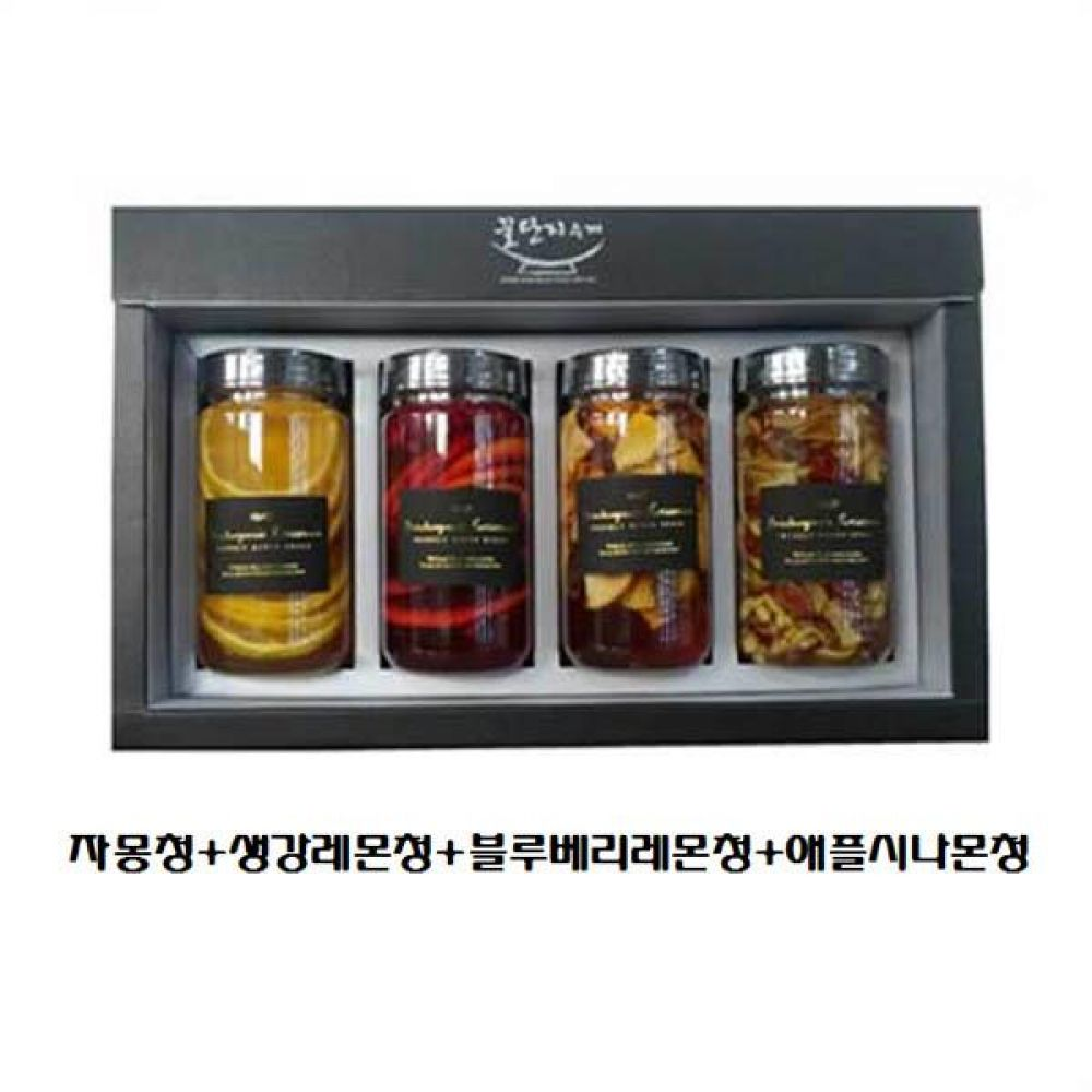 (수제 과일청 4구 선물세트) 자몽청 x 생강레몬청 x 블루베리레몬청 x 애플시나몬청 청 조청 과일 조림 단맛