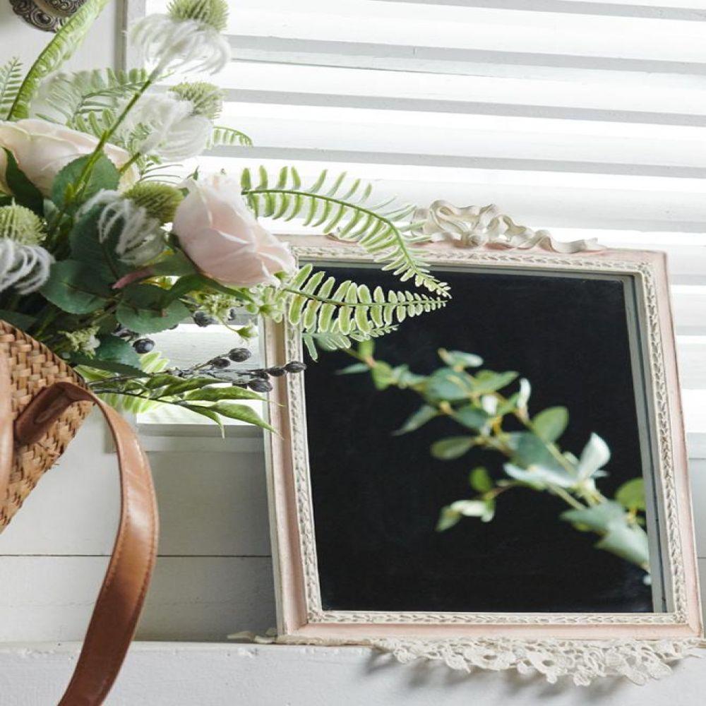 빈티지 핑크 리본 사각 거울 인테리어소품 빈티지소품 빈티지인테리어 장식소품 앤틱거울