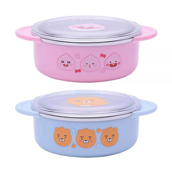 리틀프렌즈 안전핸들 논슬립 뚜껑스텐대접 (랜덤) 아동식기 유아식기 간식접시 아동식판 유아식판 유아동도시락 캐릭터식기 유아동식기 그릇세트 아기식판