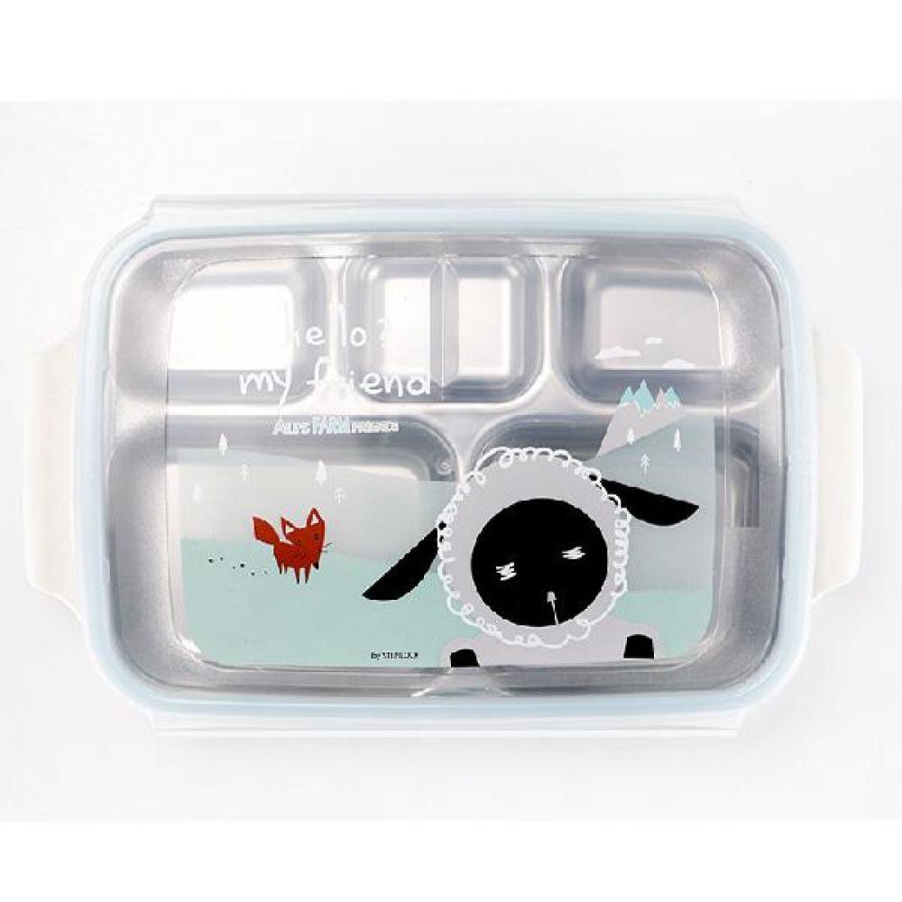 알프스팜스토리 손잡이 배식판 유아용배식판 어린이배식판 스텐배식판 스텐락배식판 뚜껑배식판