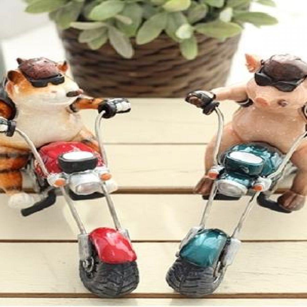 오토바이 (두건쓴 고양이. 핑크 돼지) 마블소품 돼지소품 고양이소품 장식인형 장식소품