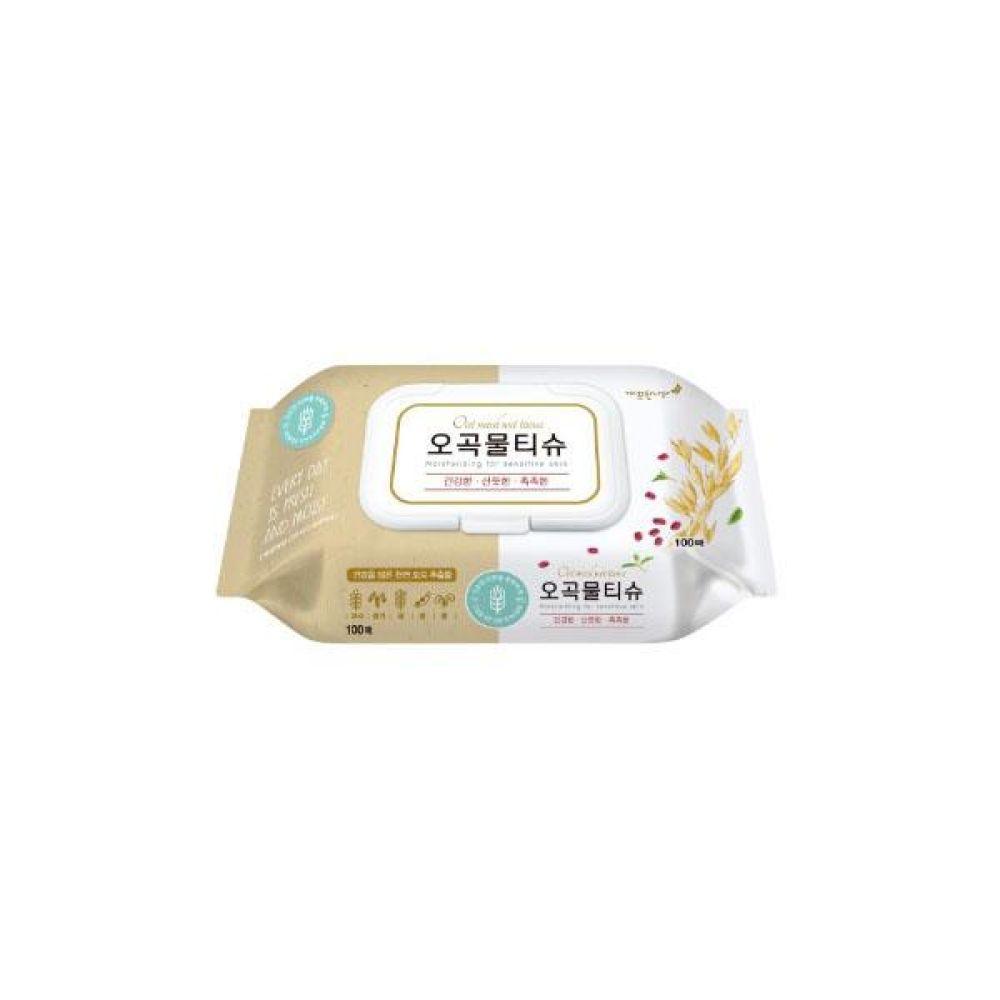 깨끗한나라)오곡물티슈 캡형(100매) x 24개 물티슈 휴지 아기용품 도매 박스단위