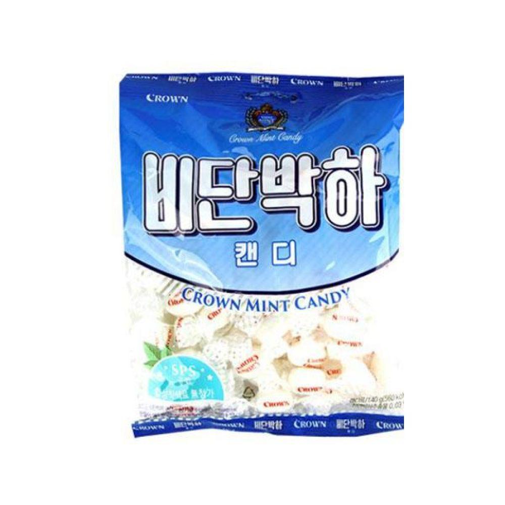 크라운)비단 박하사탕 140g x 10개 과자 사탕 젤리 껌 초코렛