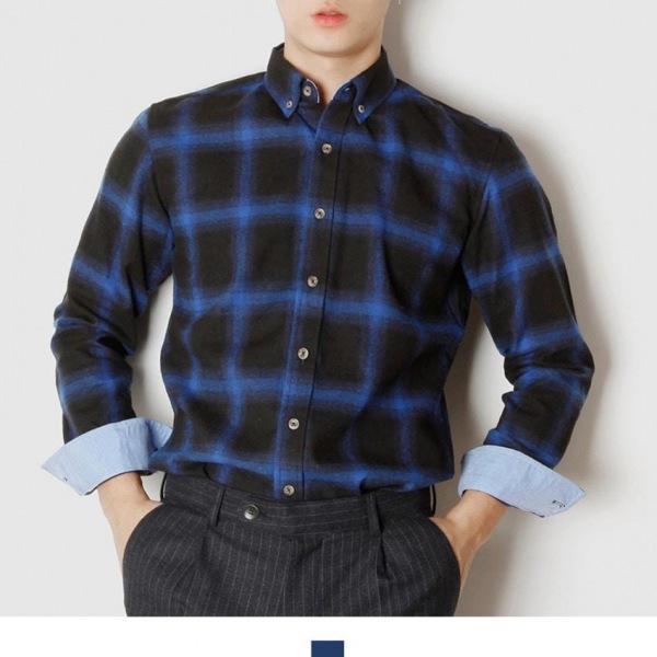 블루 체크 기모 긴팔 셔츠 남자셔츠 체크셔츠 체크남방 기모남방 기모셔츠 남자남방 긴팔셔츠 가을셔츠 킹스맨