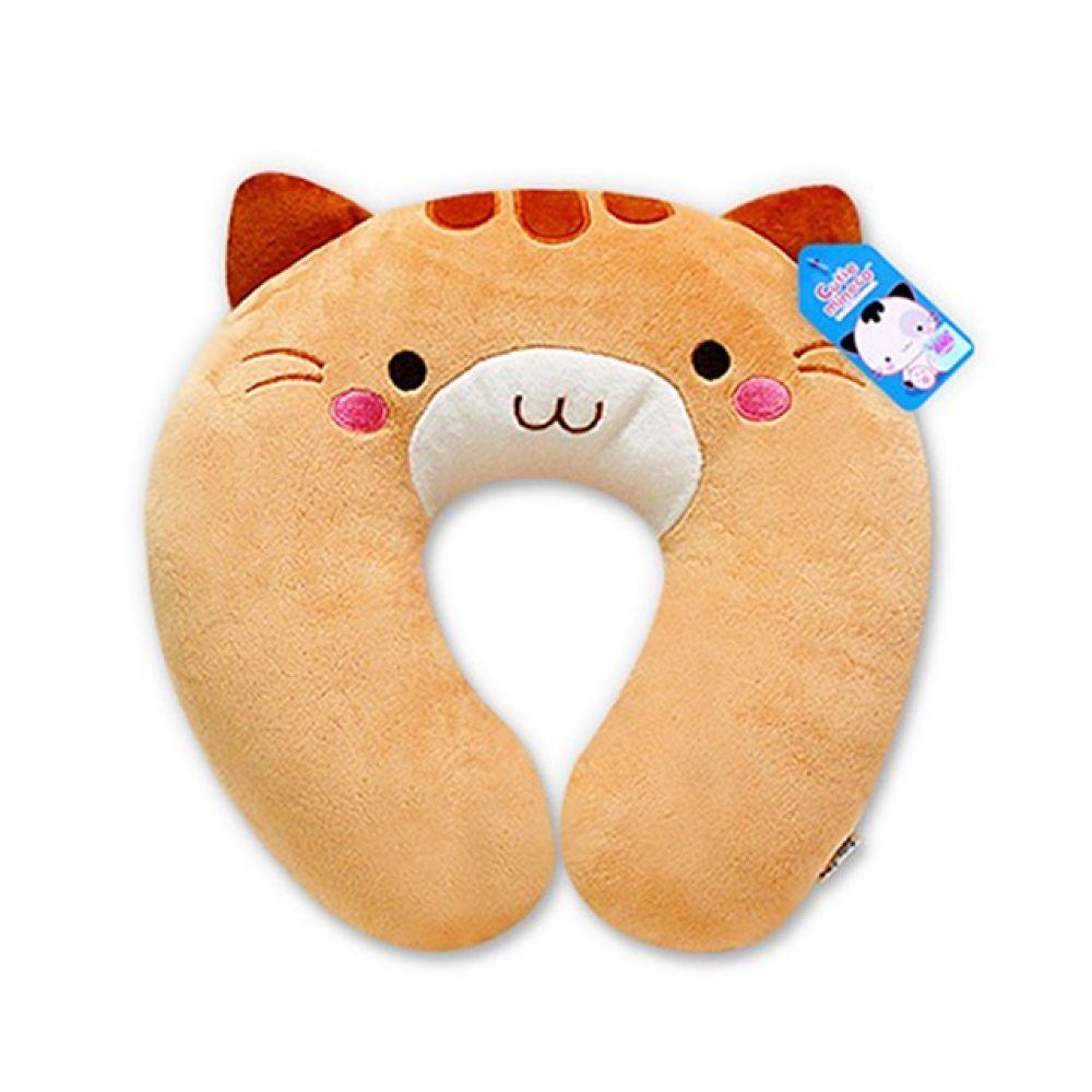 미네코 목쿠션-브라운 캐릭터인형 인형선물 봉제인형 귀여운인형 미네코 쿠션 캐릭터쿠션 목쿠션 고양이 고양이캐릭터