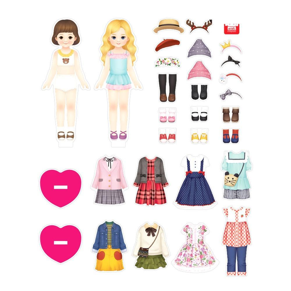 옷입히기 어린이 놀이 베스트 프렌즈 모모 코코 자석 완구 어린이집 유아원 초등학교 장난감