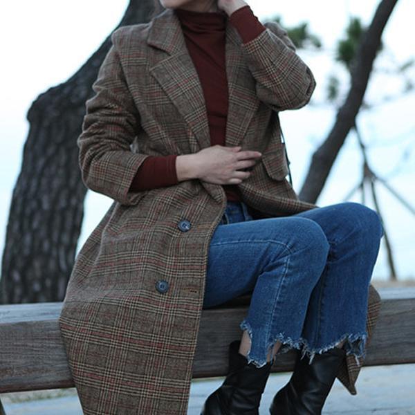 안감 누빔 투버튼 롱 브라운 체크코트 여성 아웃터 코트 퍼코트 겨울옷 여자겨울옷 롱패딩 하프코트 이쁜코트