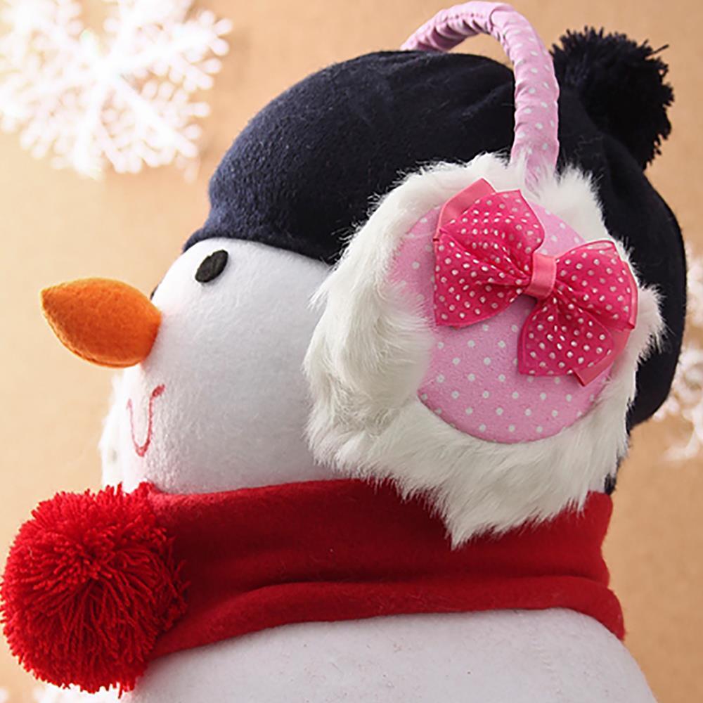 핑크 귀마개 달린 점박이 리본 털귀마개 복슬이귀마개 방한용품 겨울용귀마개 스키용품 털귀마개 방한귀마개
