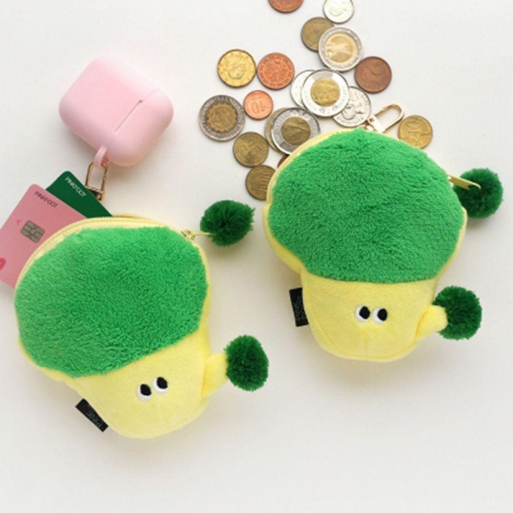 핑크풋 50 포근하고 푹신한 브로콜리동전지갑 지갑 야채지갑 야채동전지갑 푹신한지갑 열쇠고리지갑 동전지갑