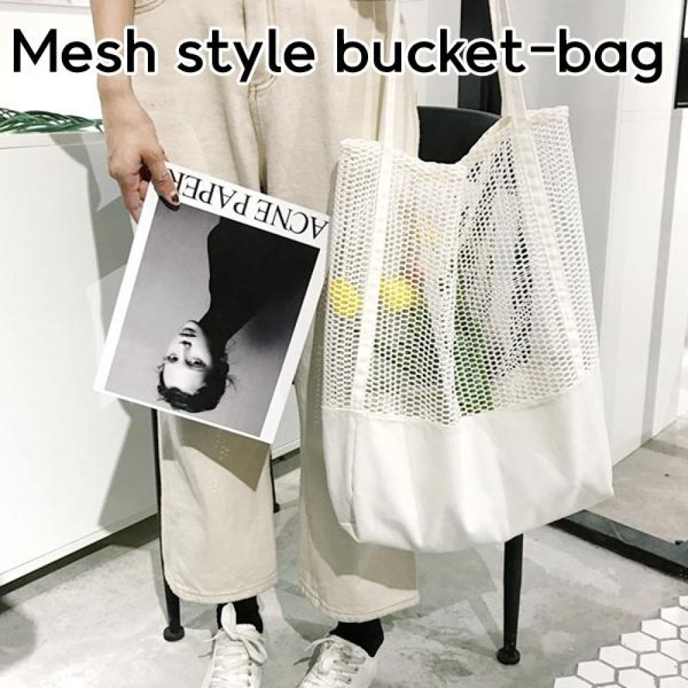 메쉬 스타일 버킷백 대 가방  트래블 여행 에코백 보냉백 토드백 장바구니 시장가방
