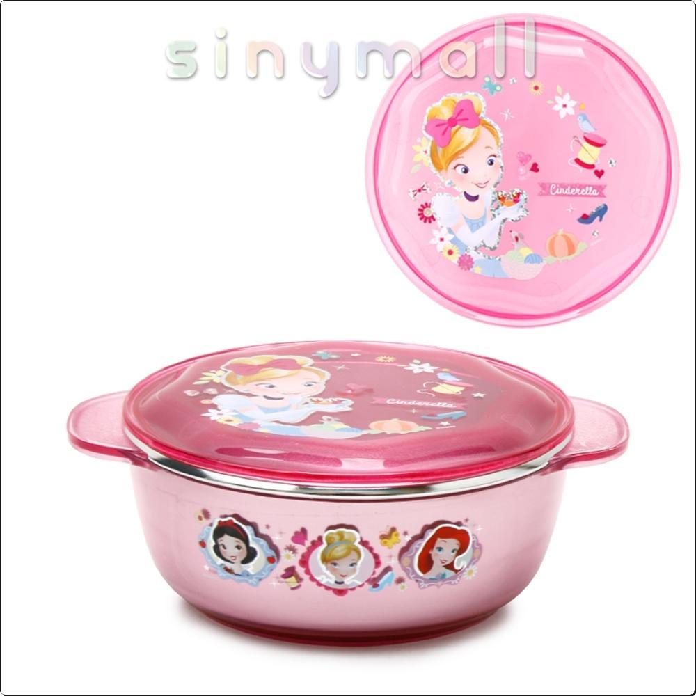 프린세스 투명논슬립뚜껑스텐대접 370ml(핑크) 캐릭터 캐릭터상품 생활잡화 잡화 유아용품