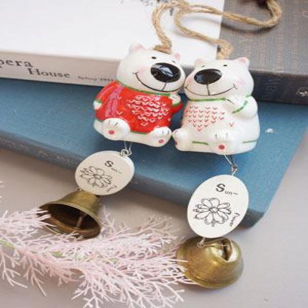 하트 곰돌이 종 (2 color) 도어벨 현관종 문종 벽걸이소품 벽장식소품