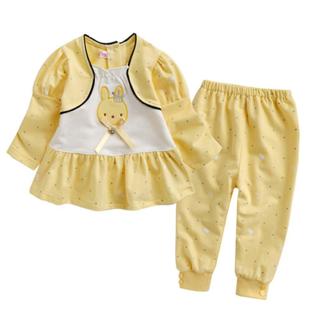 한국 왕관 토끼 상하복 2종세트 노랑(3-24개월)202346 상하복 세트 바지 모자 백일옷 돌옷