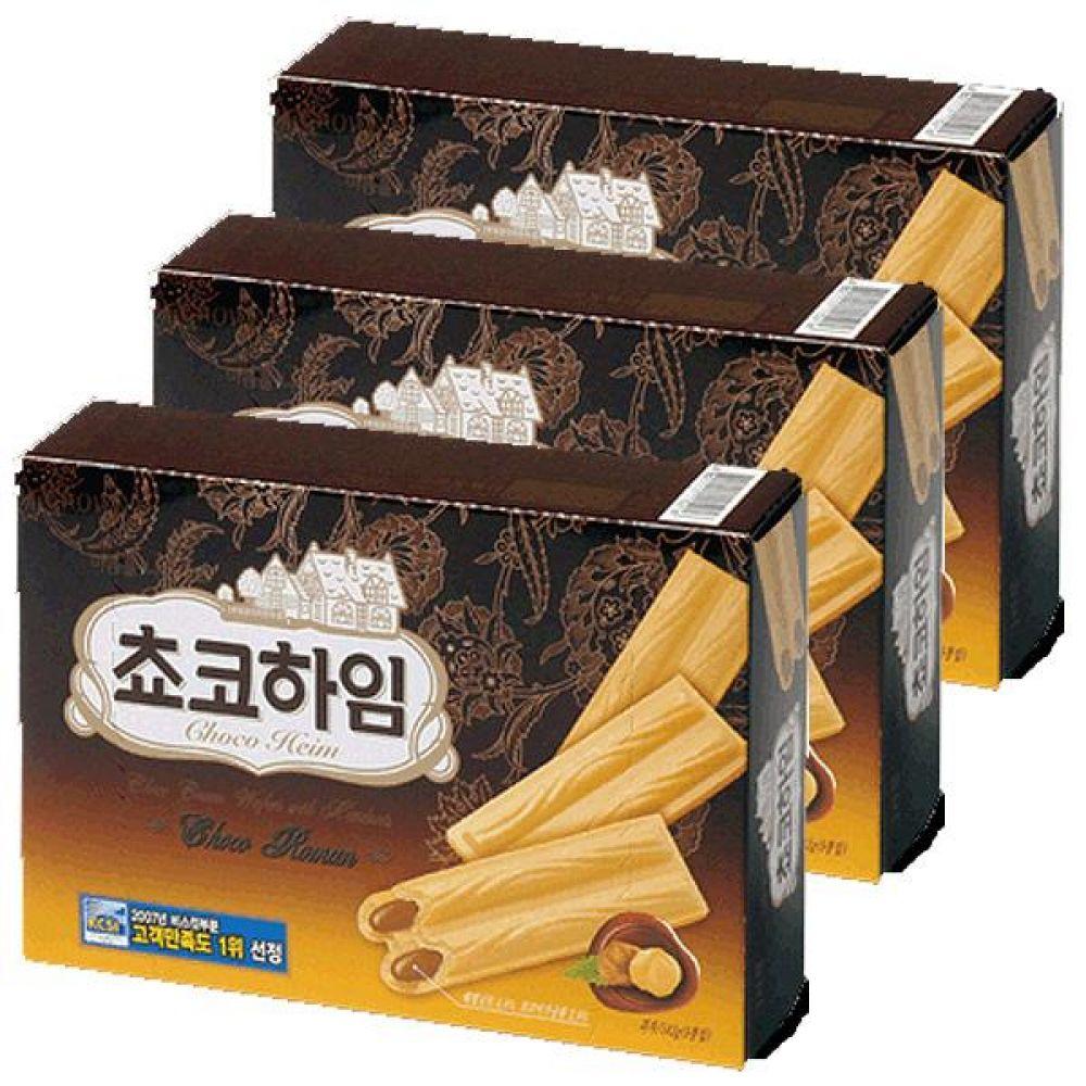 크라운)초코 하임 284g x 6개 바삭한 웨하스에 헤이즐넛 초코크림 비스켓 비스킷 초코릿 초코렛 과자