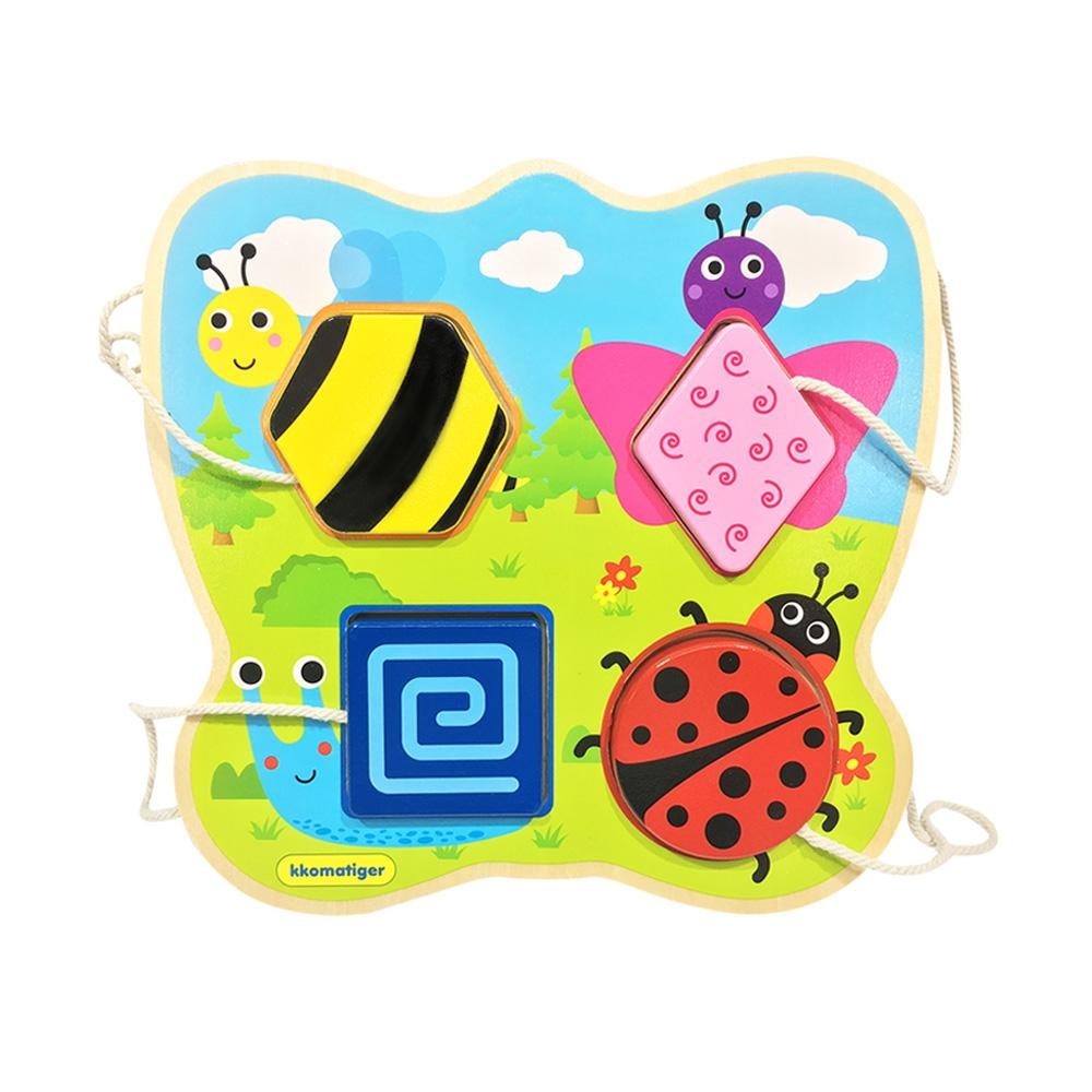 선물 유아 장난감 티거 원목 끈퍼즐 놀이 곤충 생일 퍼즐 블록 블럭 장난감 유아블럭