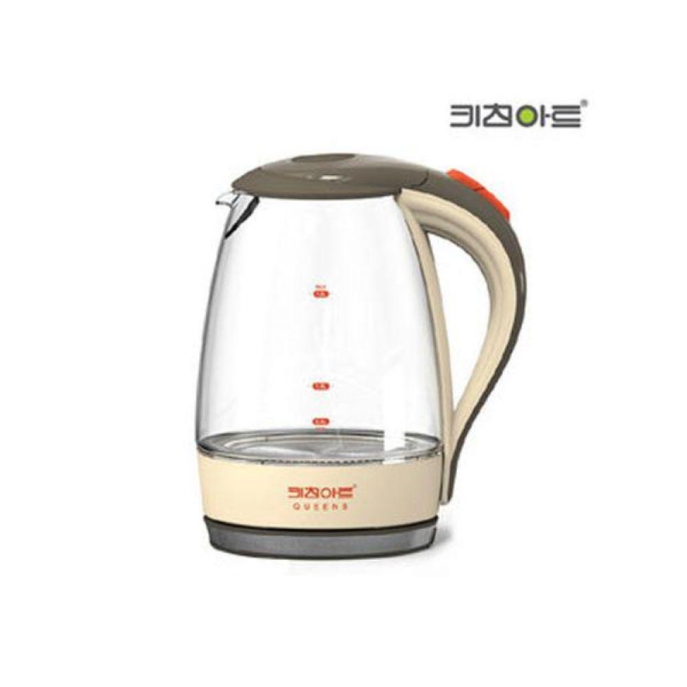 퀸즈베이지 유리전기주전자 1.8L 주방 도매 포트 커피 무선주전자