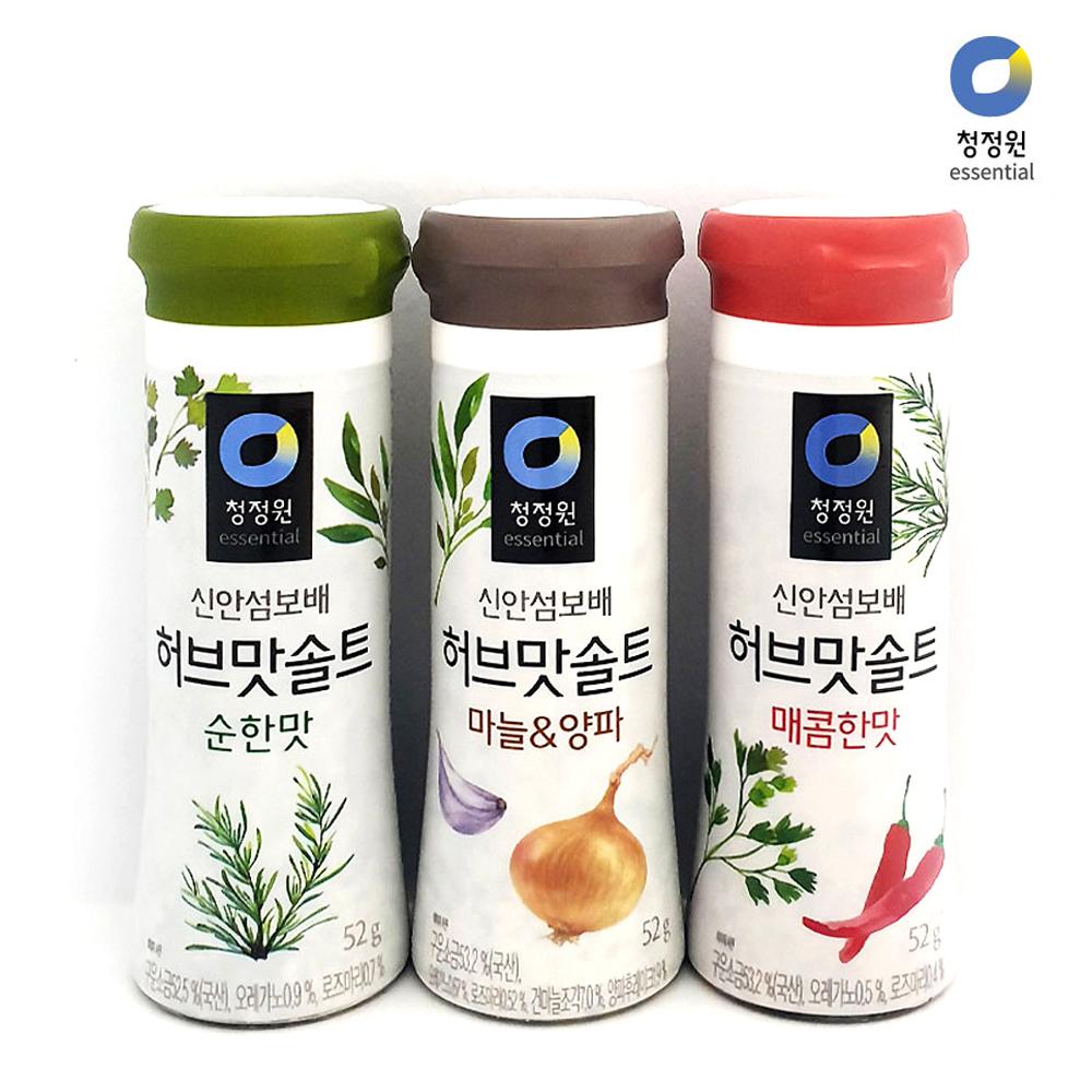 청정원 허브맛솔트 3가지맛/ 천일염/ 캠핑/삼겹살소금 조미료 소금 허브 누린내 먹는소금