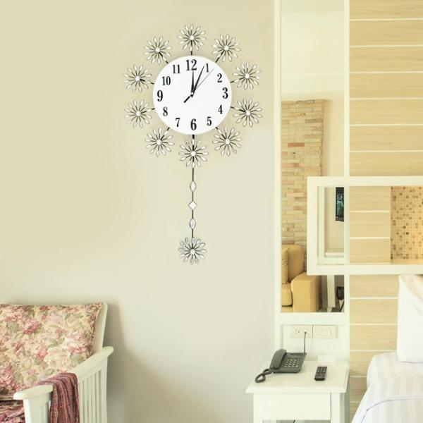 JHC컴퍼니 플라워 크리스탈 추시계(74cm) 벽시계 탁상시계 시계 클래식시계 엔틱벽시계