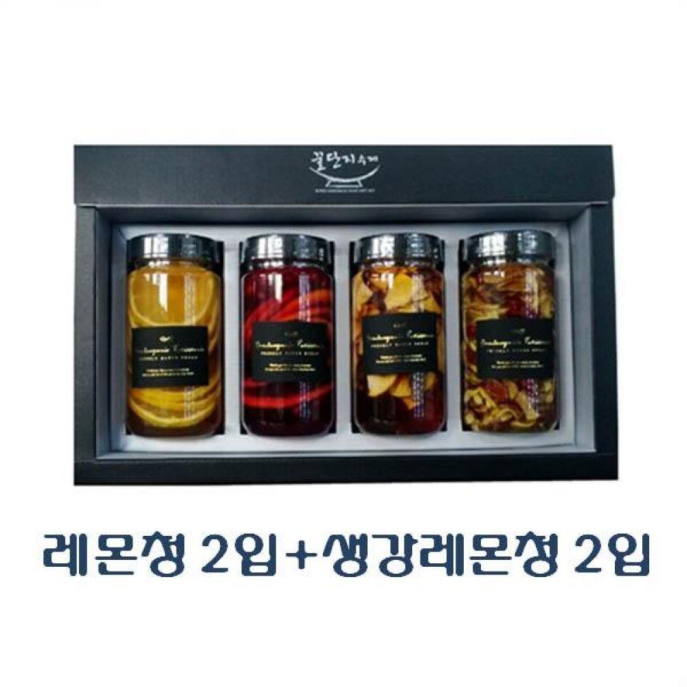 (수제 과일청 선물세트) 레몬청 300ml(2입) x 생강레몬청 300ml(2입)_100퍼센트 원당만 사용 청 조청 과일 조림 단맛
