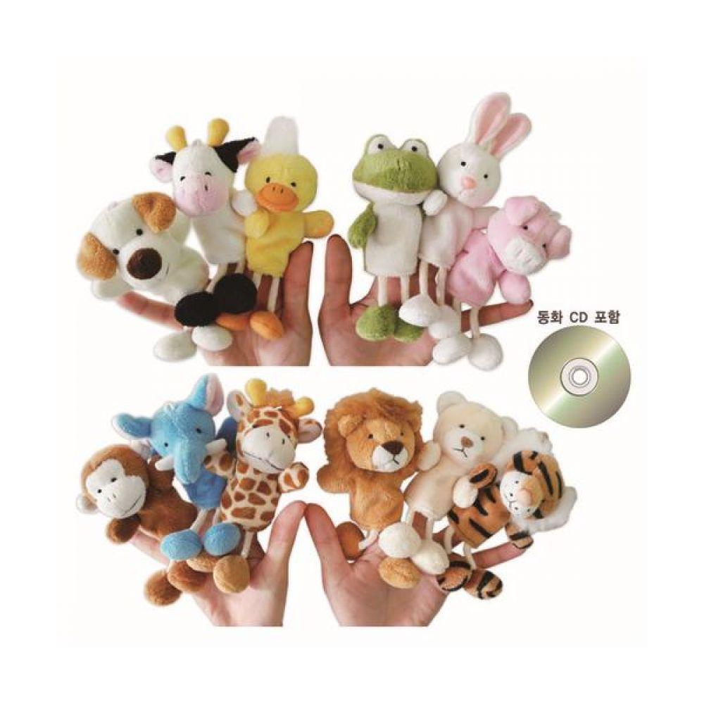 손가락인형 가축 야생 동물 12종와 동화 CD 완구 문구 장난감 어린이 캐릭터 학습 교구 교보재 인형 선물