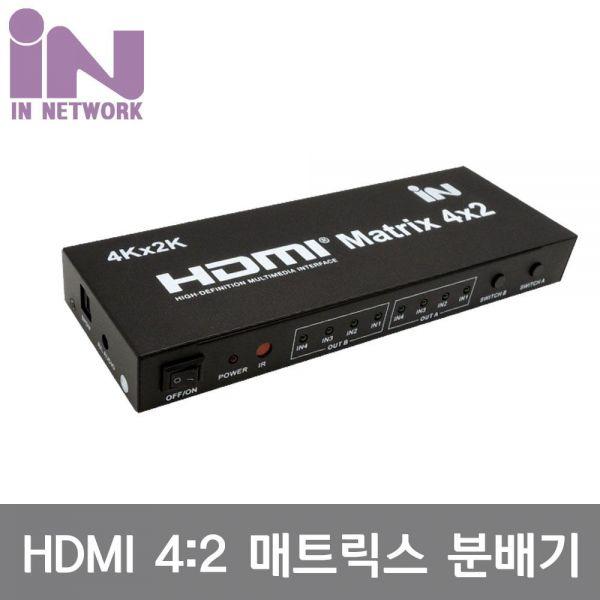 HDMI 1.4 4:2 매트릭스 4K2K/30Hz/리모콘입력:4 출력:2 hdmi 분배기 선택기 공유기 4k30hz 4k uhd 매트릭스 MATRIX