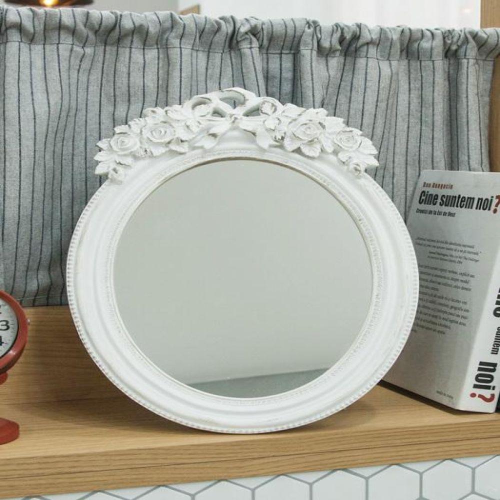 8033 화이트 장미 원형 거울 탁상거울 벽거울 벽걸이거울 빈티지거울 빈티지소품