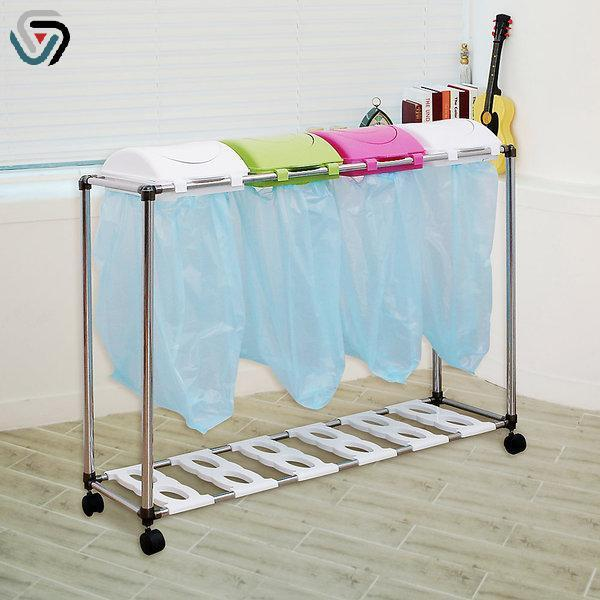 BOSS 분리수거함 스윙  4P 생활용품 가정용분리수거함 재활용분리수거함 3단분리수거함 이동식분리수거함 4단분리수거함