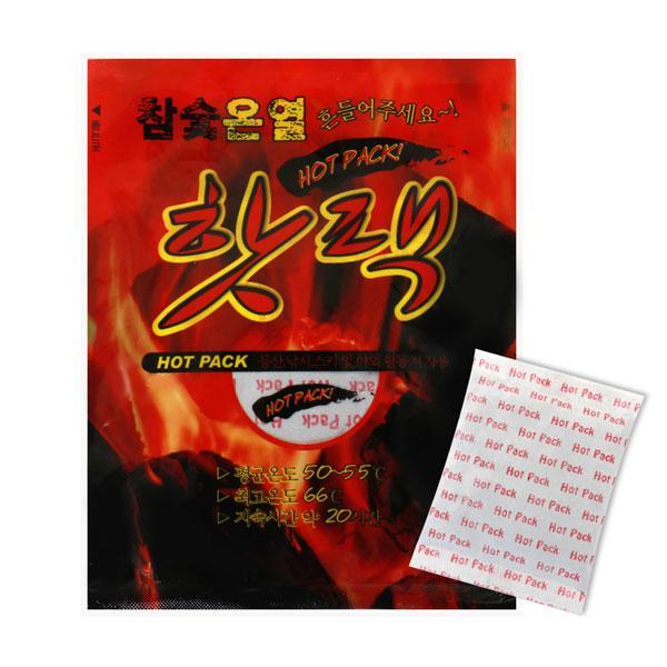 참숯 온열 핫팩 대형 100g 10매 핫팩 보온핫팩 생활 겨울용품 선물