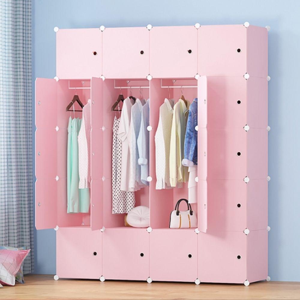 핑크하우스 조립식 선반 옷장(4열14칸) 선반 옷장 조립식옷장 조립식선반 핑크선반